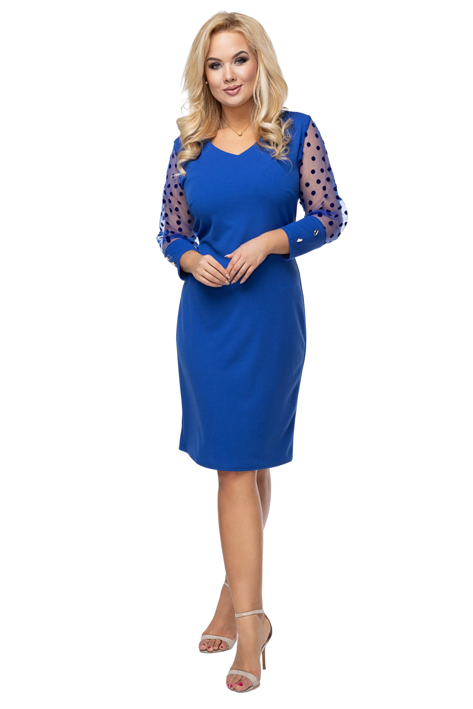 Spoločenské krátke šaty s bodkovanými rukávmi modré - 40