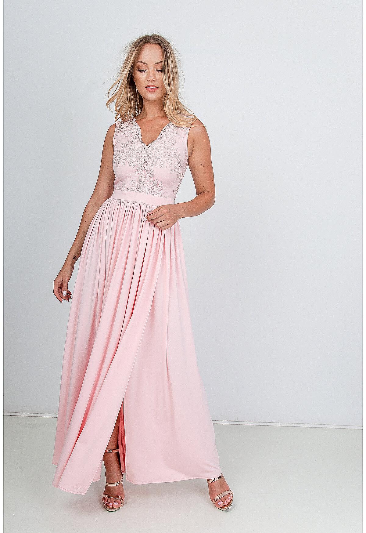 Dlhé spoločenské svetlo ružové šaty - L