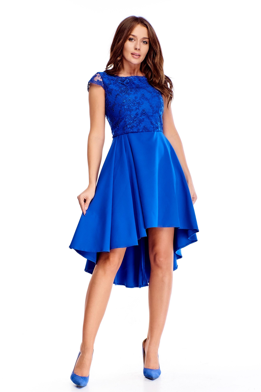 Modré spoločenské šaty s vyšívanou vrchnou časťou - 40