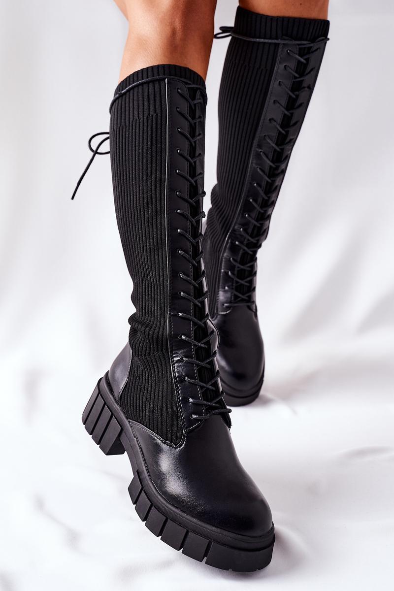 Čierne vysoké ponožkové čižmy - 39