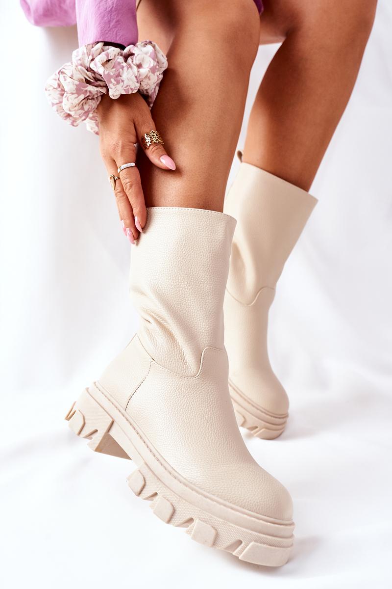 Dámske béžové členkové topánky - 40