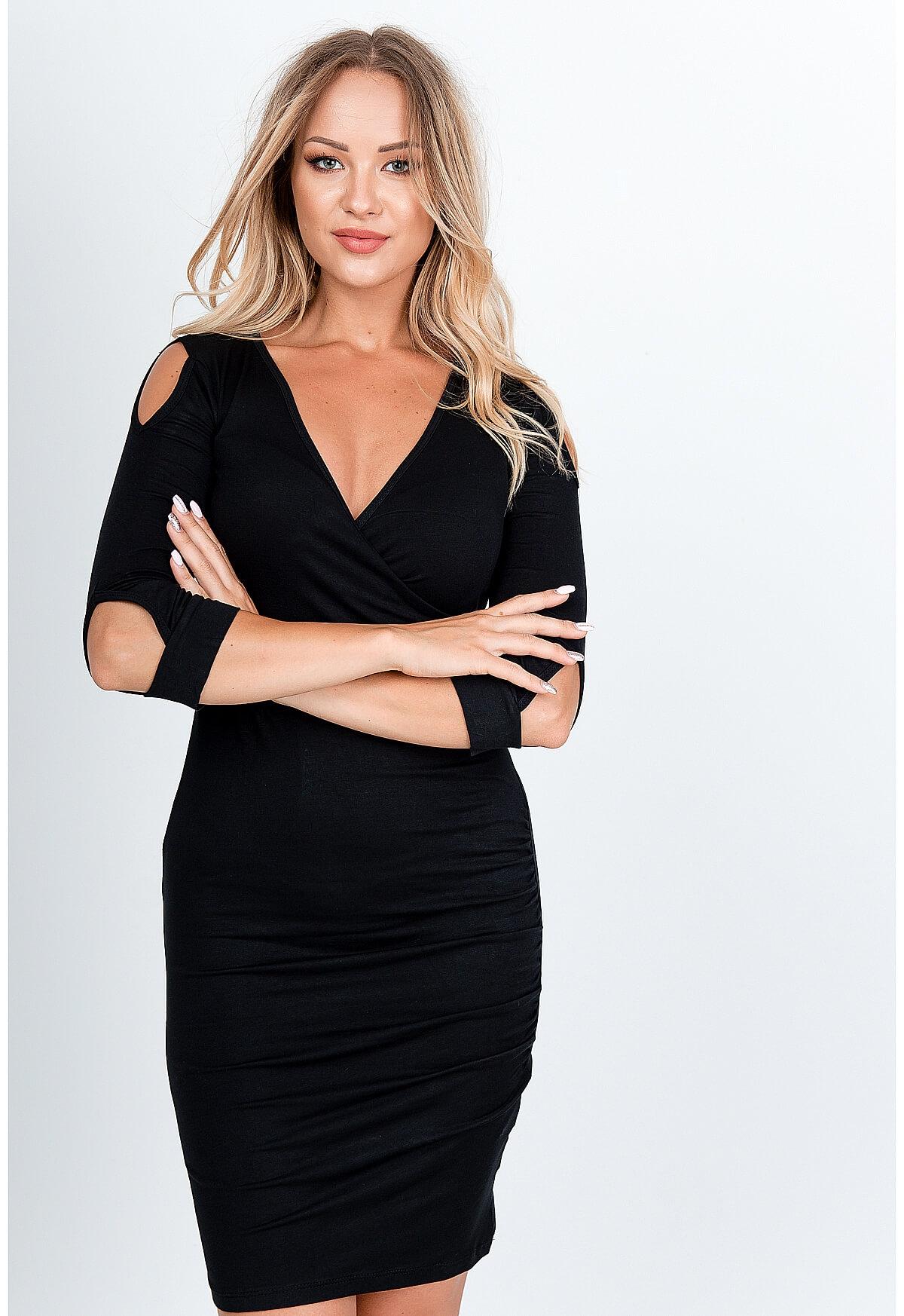 Elegantné čierne midi šaty - M