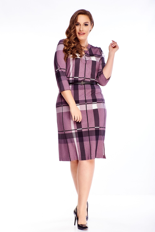 Kárované krátke šaty s opaskom fialové - 48
