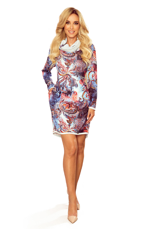 Krátke vzorované šaty s rolákom - XL