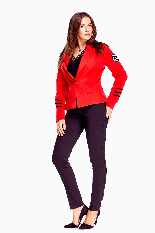 Zateplené červené dámske sako - 36