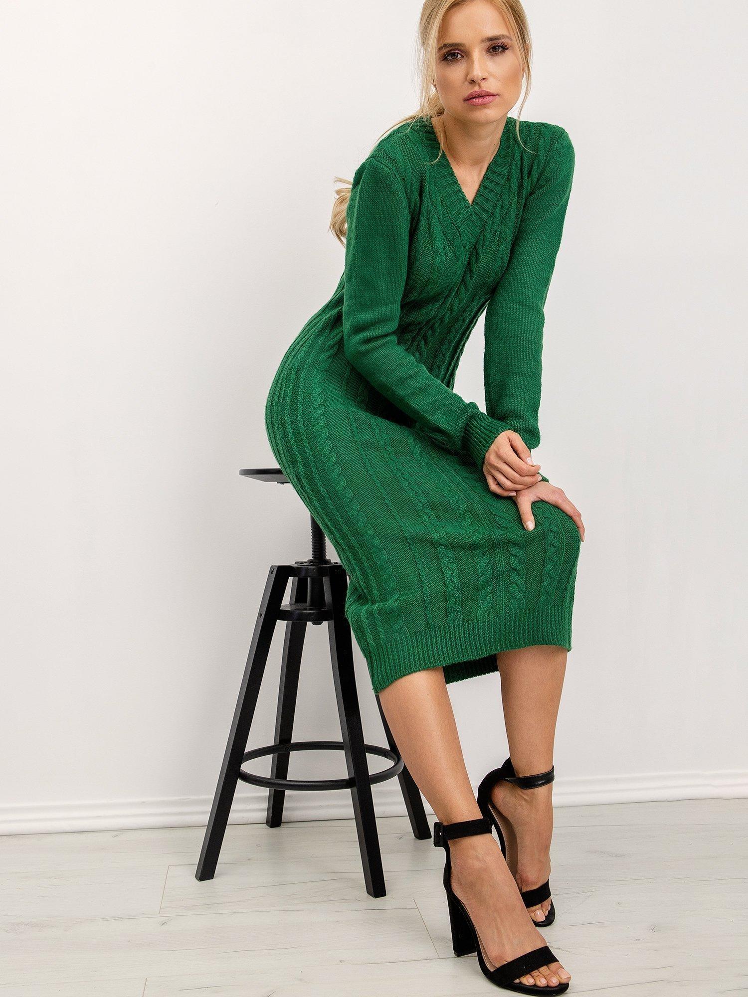 Zelené pletené šaty - M