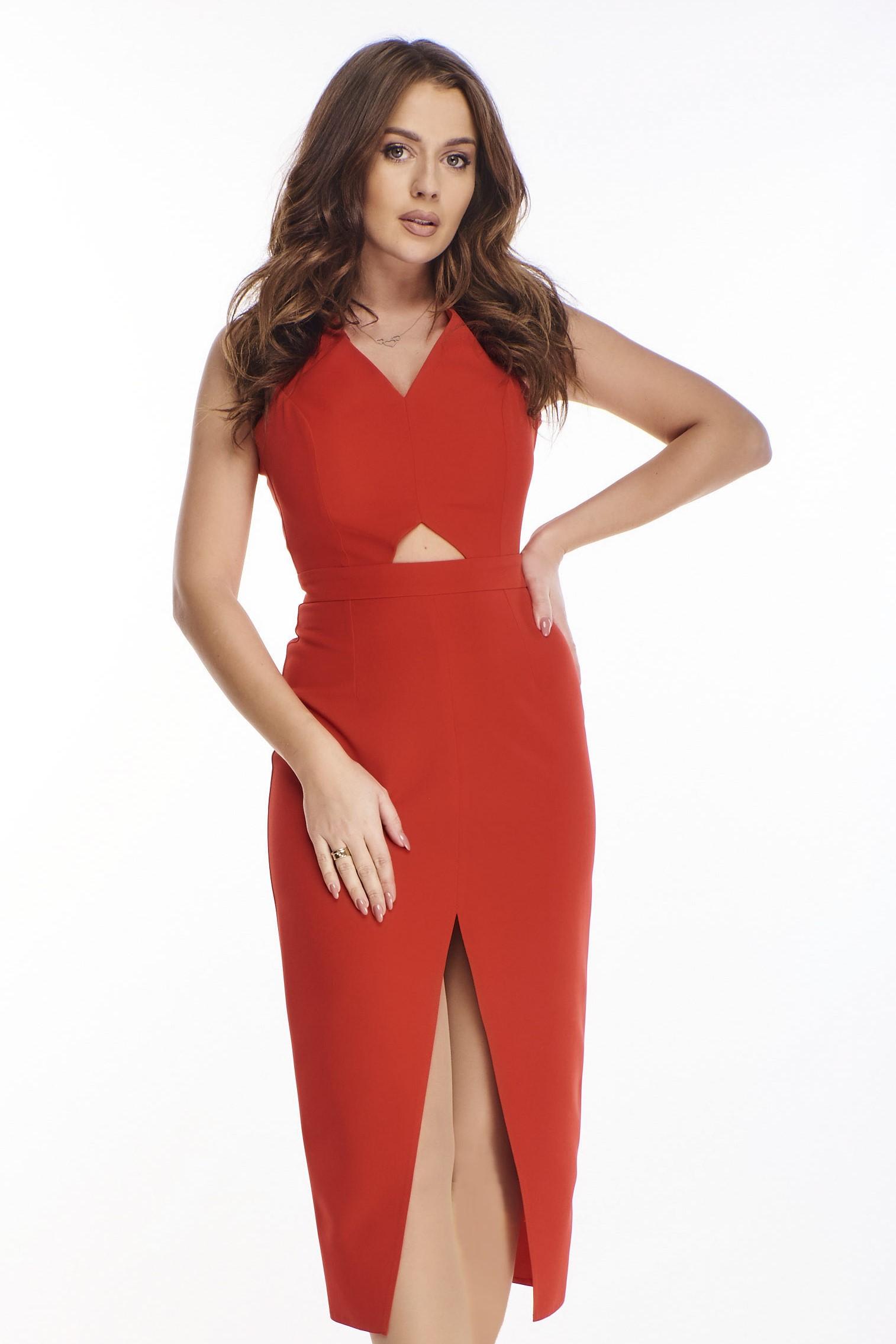 Zvodné červené šaty s prekrížením - 42